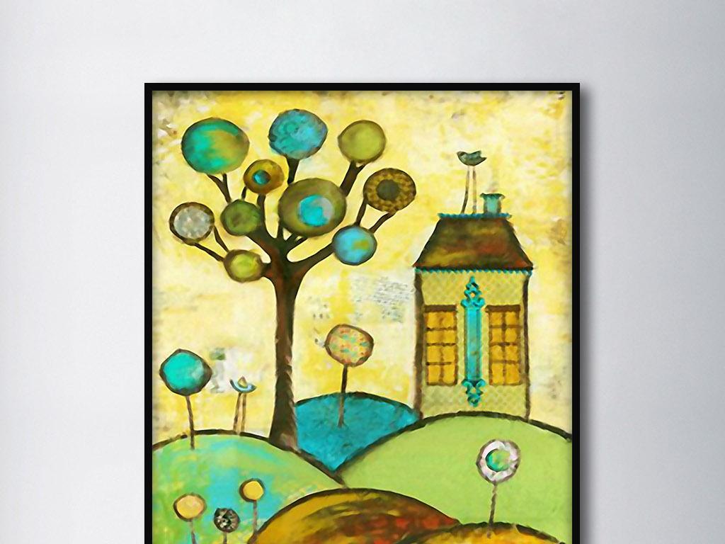 山坡房子大树欧式抽象组合手绘家居装饰画