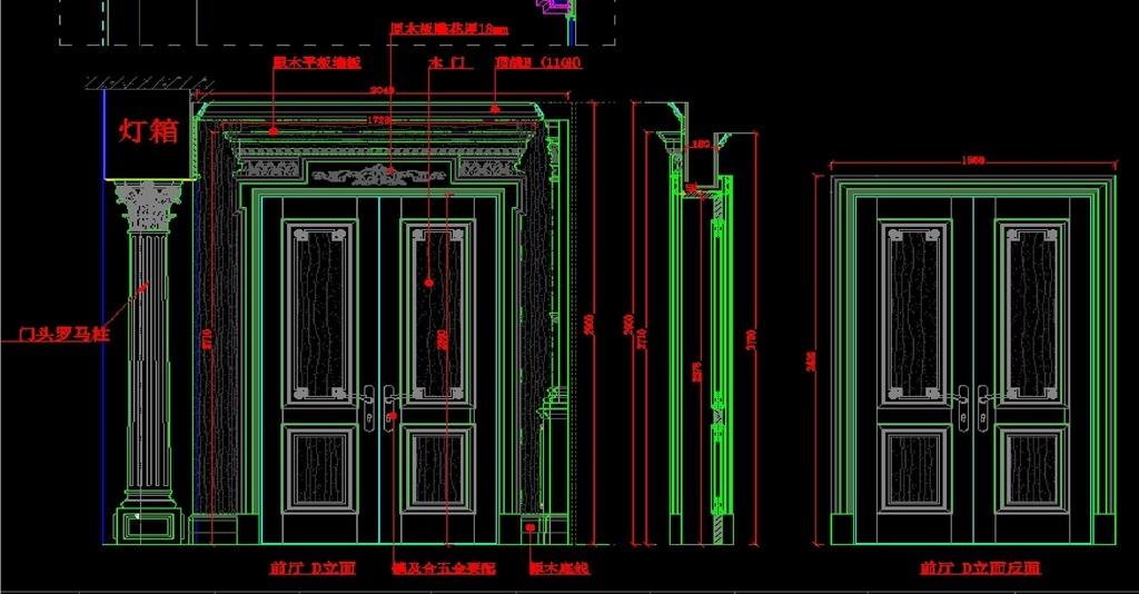 衣柜木门设计图木门店cad木线中式家具cad图纸cad