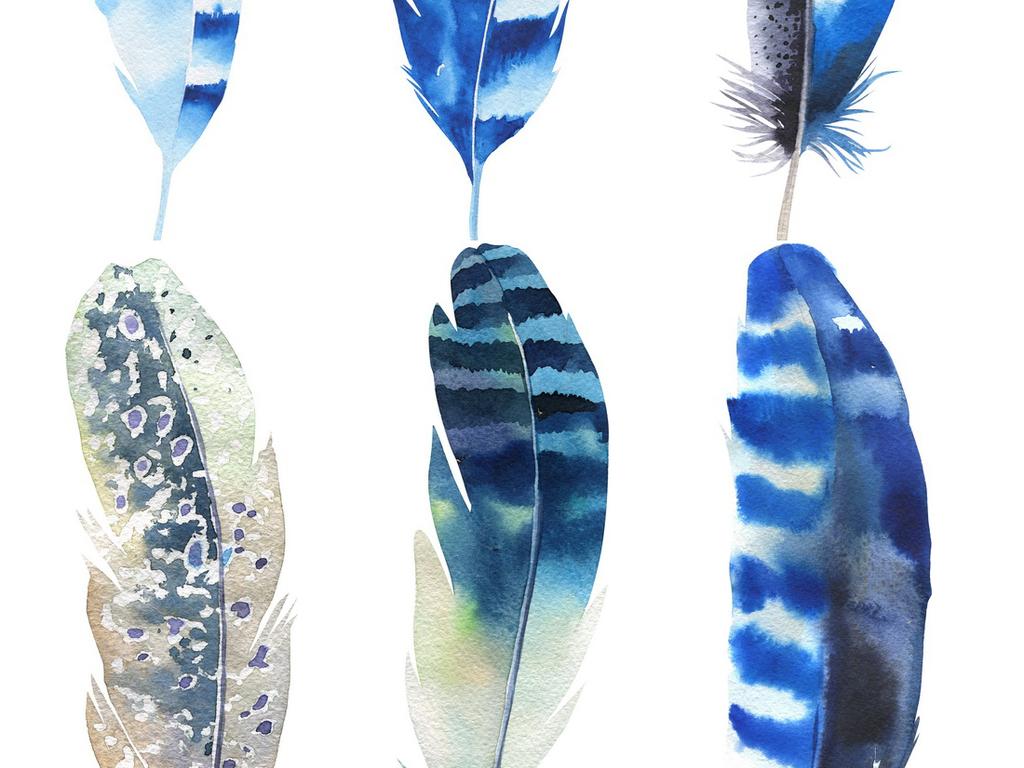唯美手绘彩色羽毛素材