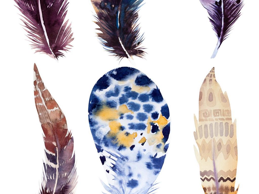 唯美手绘彩色羽毛高清png素材