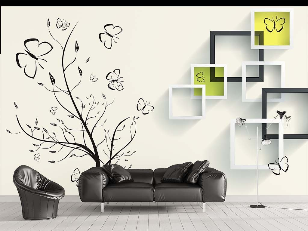 手绘树3d背景墙