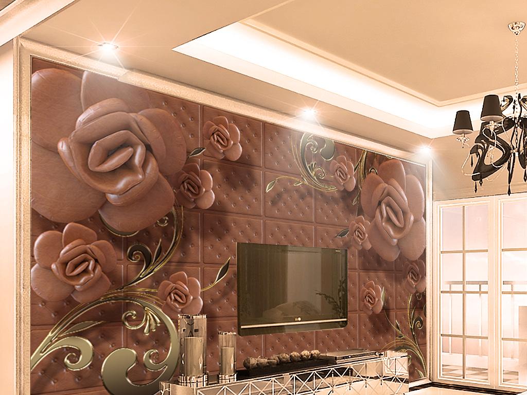 欧式复古轻奢珠宝花卉花藤客厅电视背景墙图片