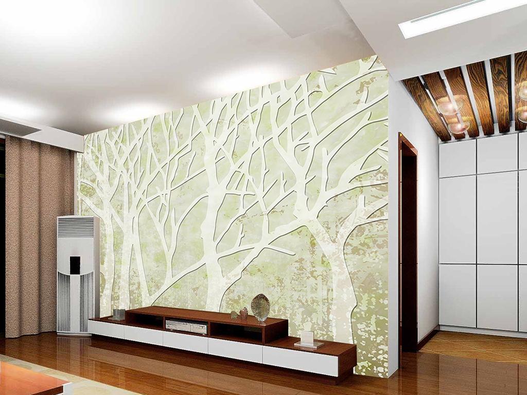 花墙-1独创-清新淡雅树林树木电视背景墙壁纸墙画