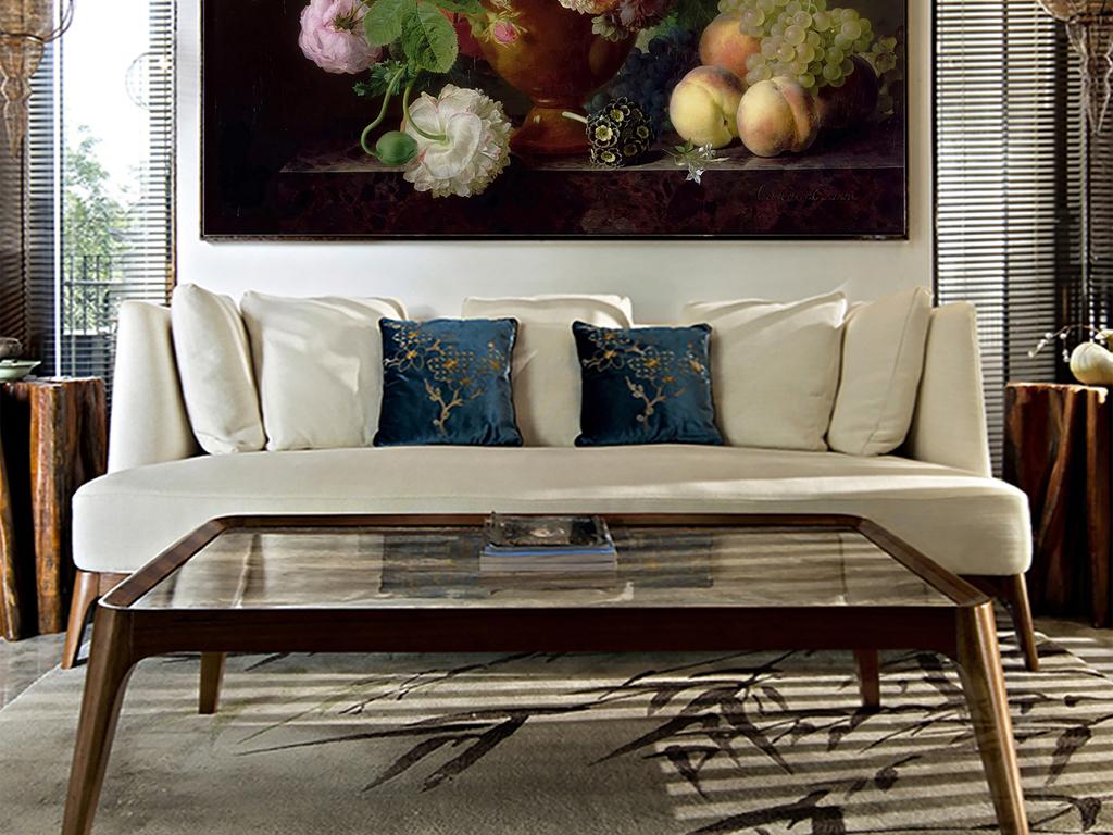 欧式古典花瓶花卉油画玄关无框画背景墙