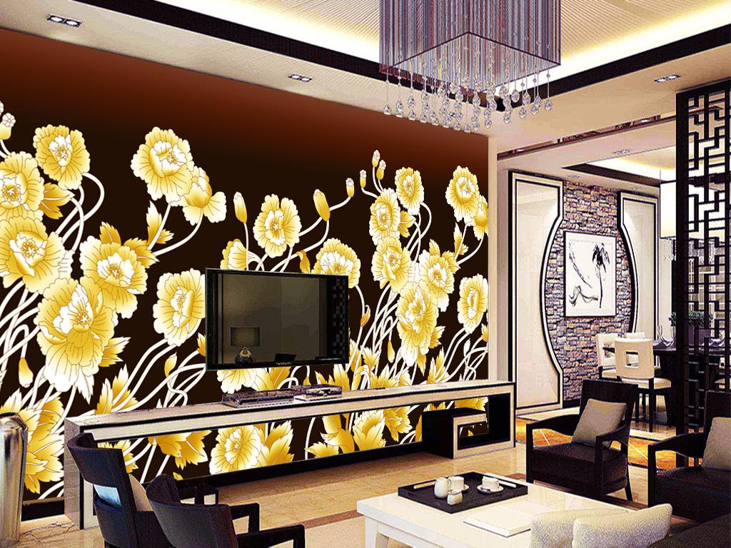 背景墙|装饰画 电视背景墙 手绘电视背景墙 > 新中式手绘金色花朵背景