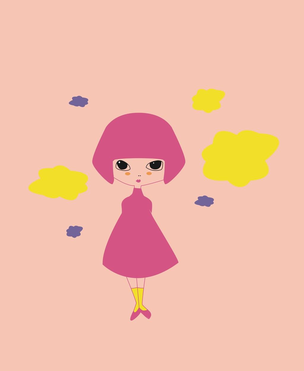 卡通动物图案卡通图案平面设计素材小女孩