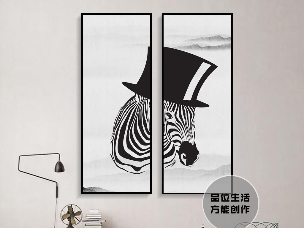 欧美抽象黑白装饰画斑马黑白头像黑白抽象艺术抽象艺术抽象黑白抽象黑