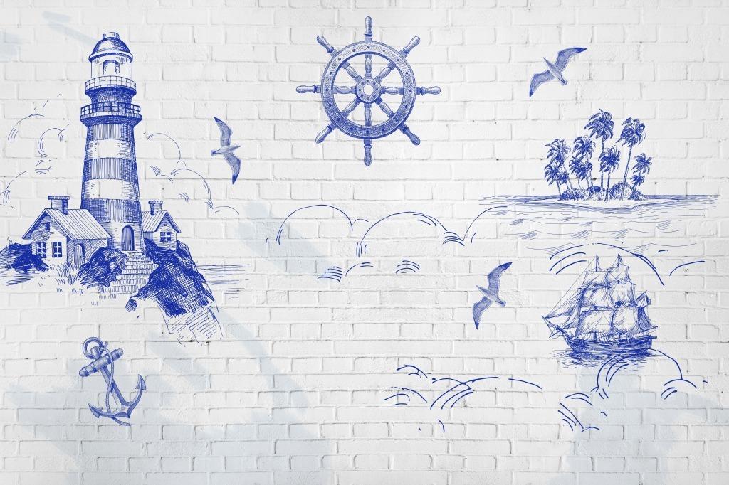 航海世界背景墙蓝色灯塔