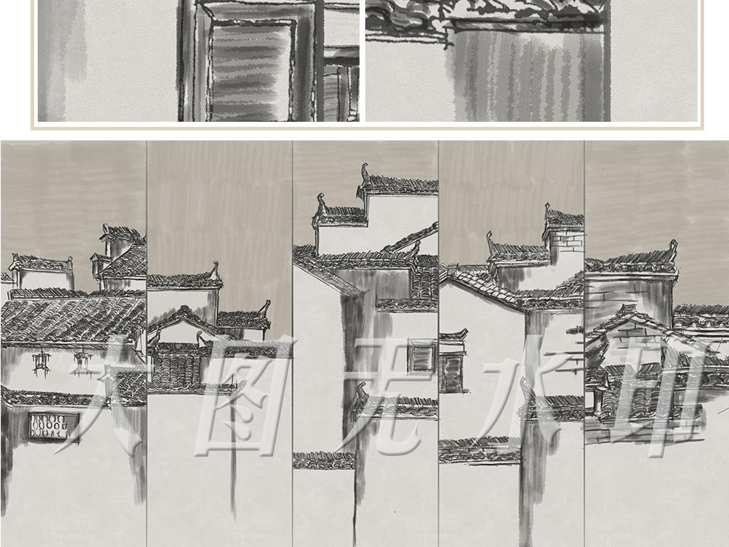 屋檐古建筑墙壁画工装墙纸高清后现代酒店中式中式背景中式水墨水墨装图片