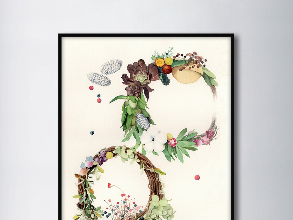 美丽花环松果北欧小清新欧式现代手绘装饰画