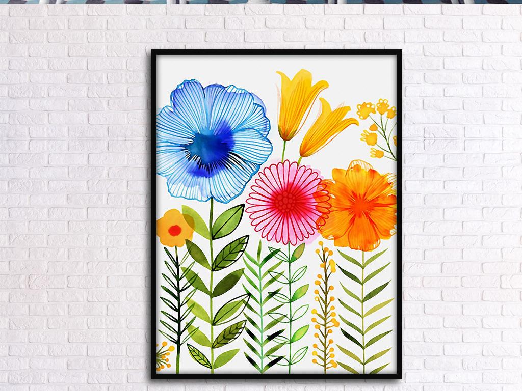 花卉花丛花草小清新手绘水彩欧式现代装饰画