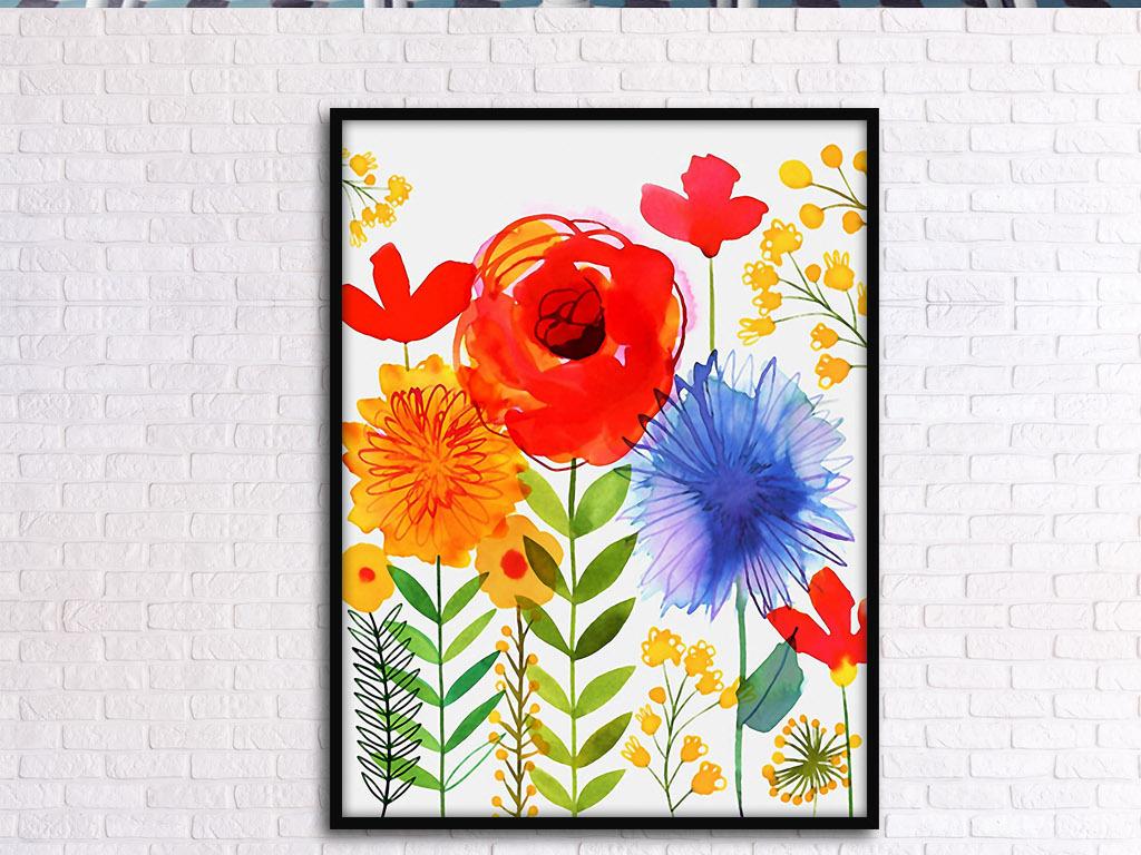 红花绿叶手绘花卉现代欧式北欧家居装饰画