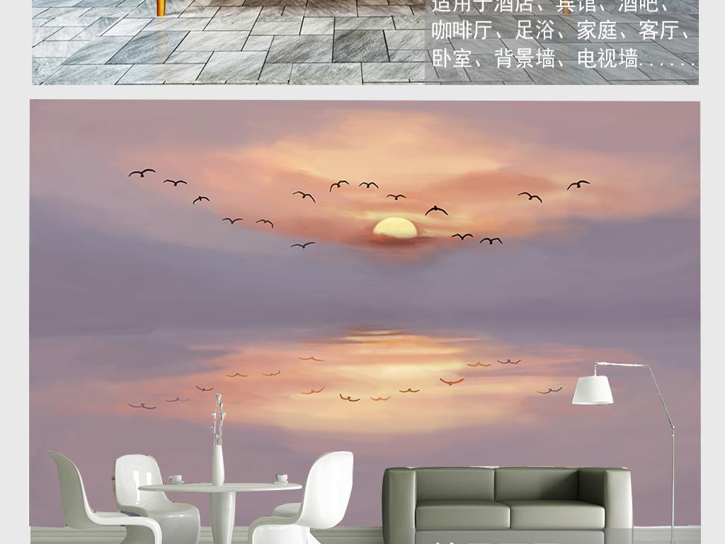 手绘黄昏群鸟栖山图电视墙壁画背景墙