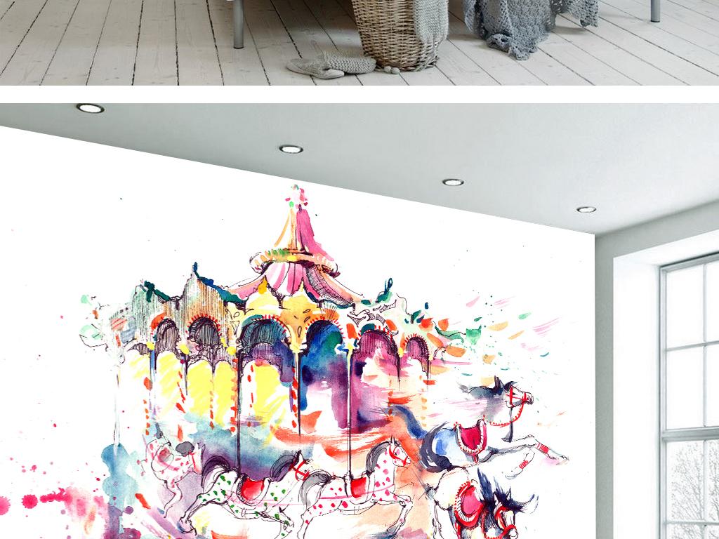 现代简约艺术手绘抽象旋转木马装饰画背景墙