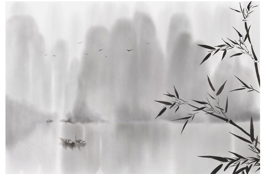 手绘新中式竹子水墨山水背景墙装饰画