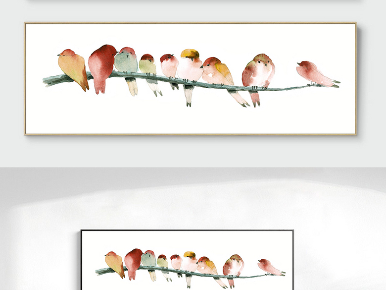 树枝上的栖鸟一群小鸟水彩小鸟装饰画无框画