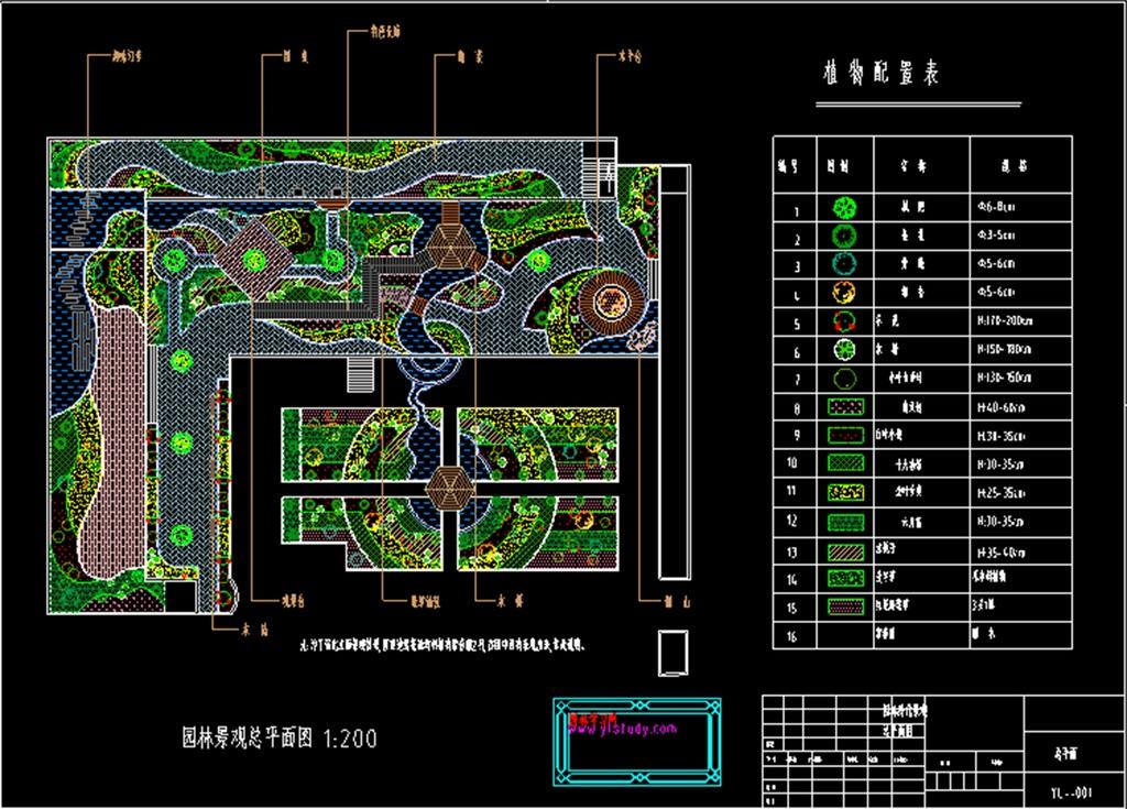 dwg)某公园总平面cad布置图某公园景观cad施工设计图绿化cad绿化图库