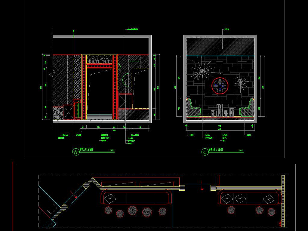 酒吧cad装修设计图平面图下载(图片10.87mb)_spa休闲