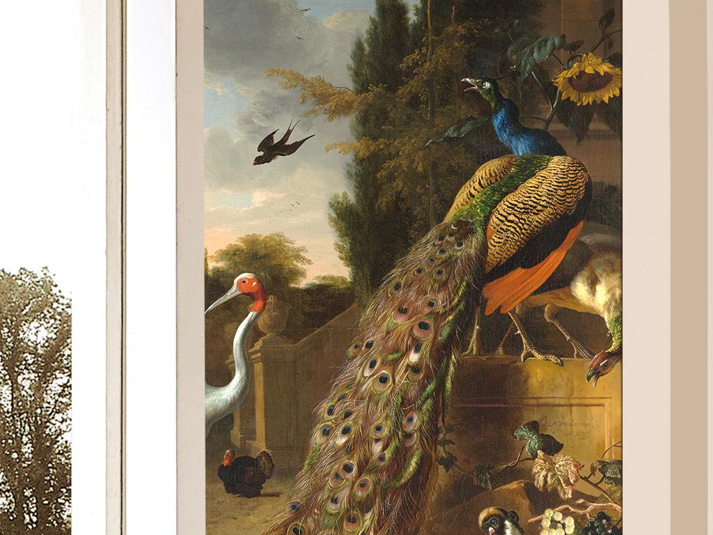 欧式复古手绘孔雀花鸟田园壁画玄关图片