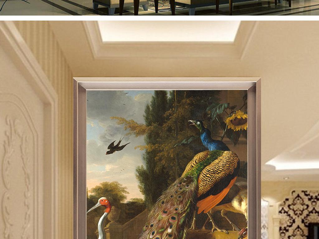欧式复古手绘孔雀花鸟田园壁画玄关