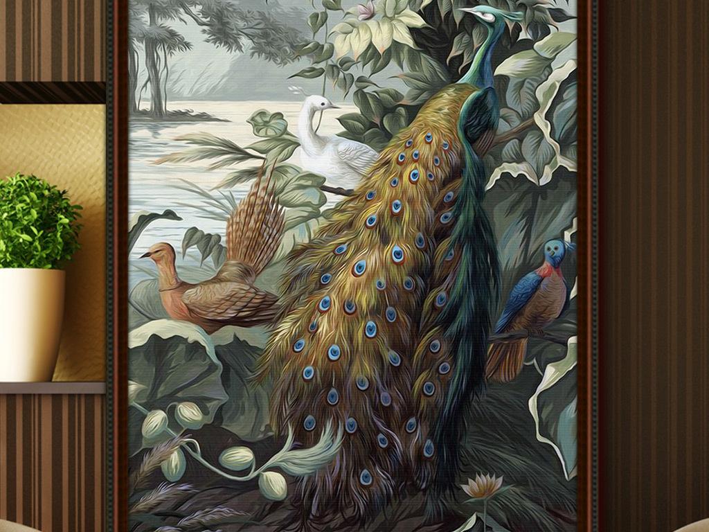 欧式手绘复古怀旧孔雀玄关背景墙