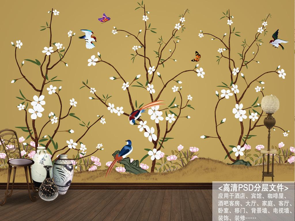 壁纸墙纸树枝蝴蝶桃花中式花鸟装饰花鸟中式手绘工笔花鸟中式背景工笔图片