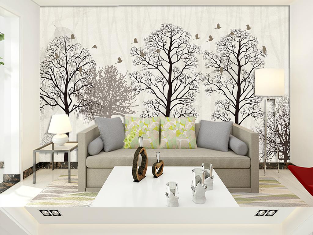 背景墙|装饰画 电视背景墙 欧式电视背景墙 > 北欧简约森林麋鹿电视