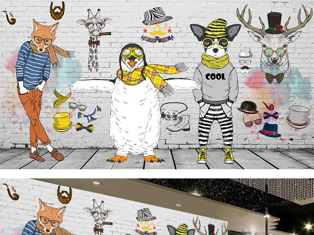 包包店咖啡厅形像墙咖啡馆英伦手绘线稿动物