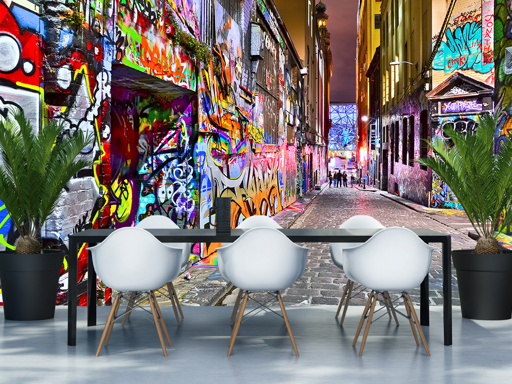 手绘咖啡店涂鸦背景个性空间立体空间个性背景工装