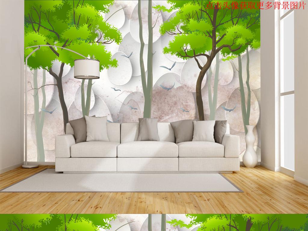 3d手绘抽象树林背景墙