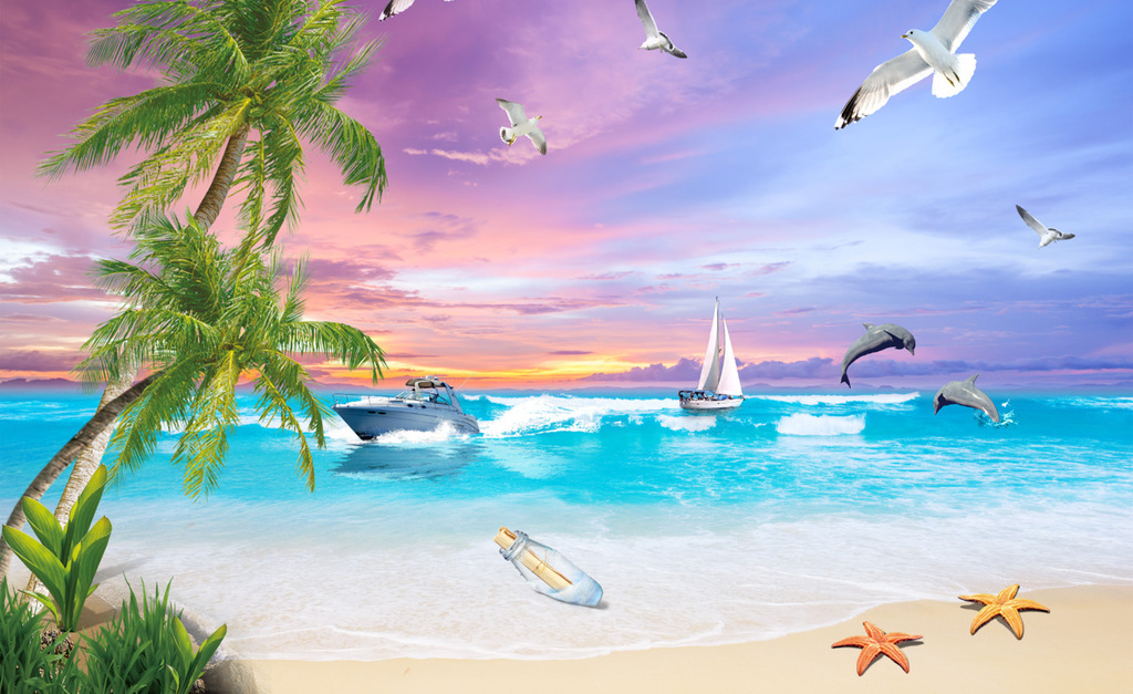 壁纸壁画海景沙滩沙滩海景沙滩背景海景背景大海海鸥