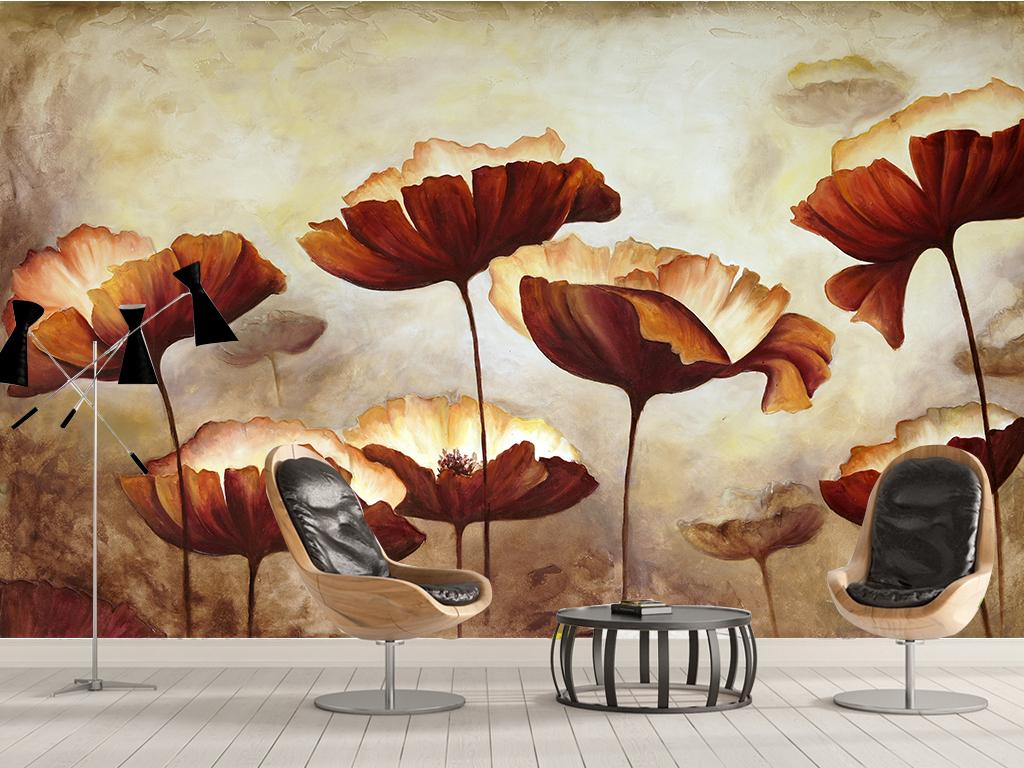 东南亚风格手绘植物艺术壁画背景墙壁纸