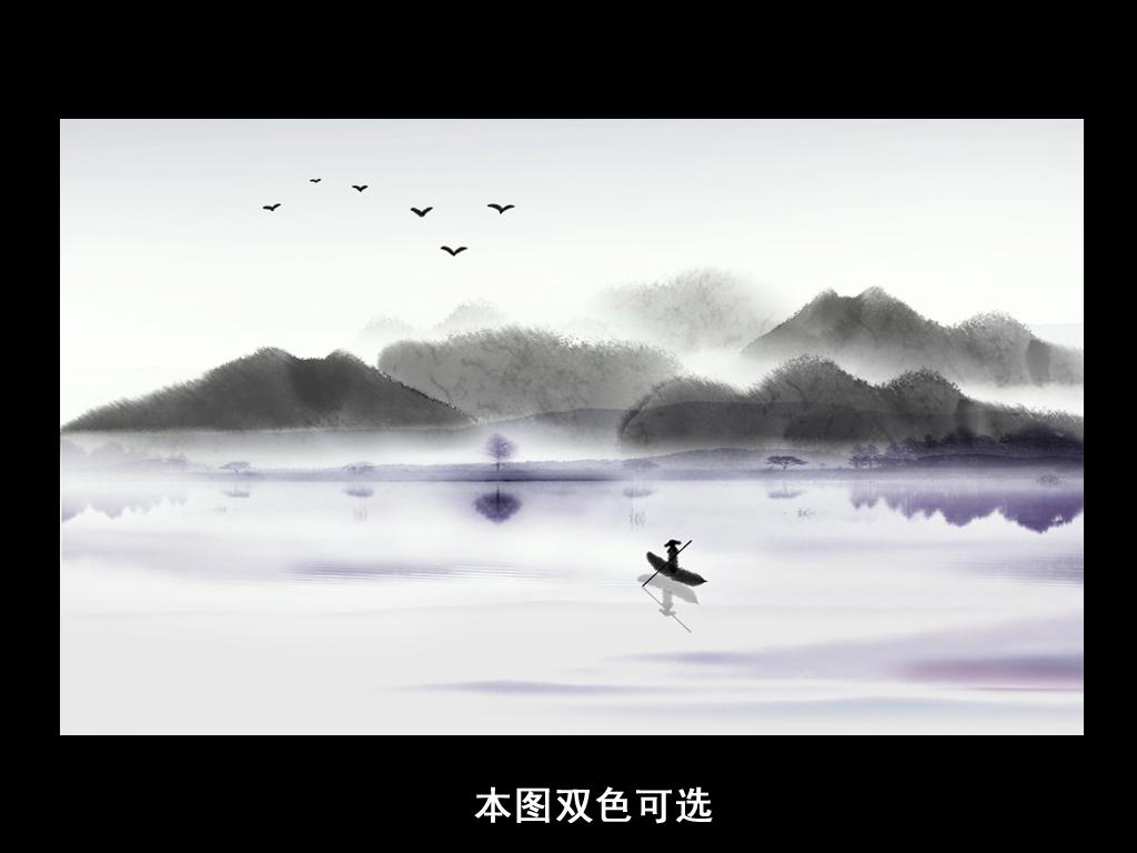 新中式手绘意境水墨山水背景(图片编号:16044523)_ 画