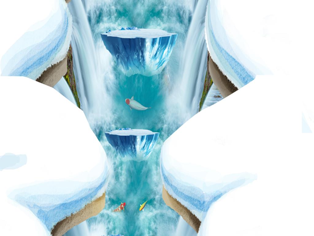客厅雪山悬崖冰山3d立体画-狼3d背景画3d立体地板画