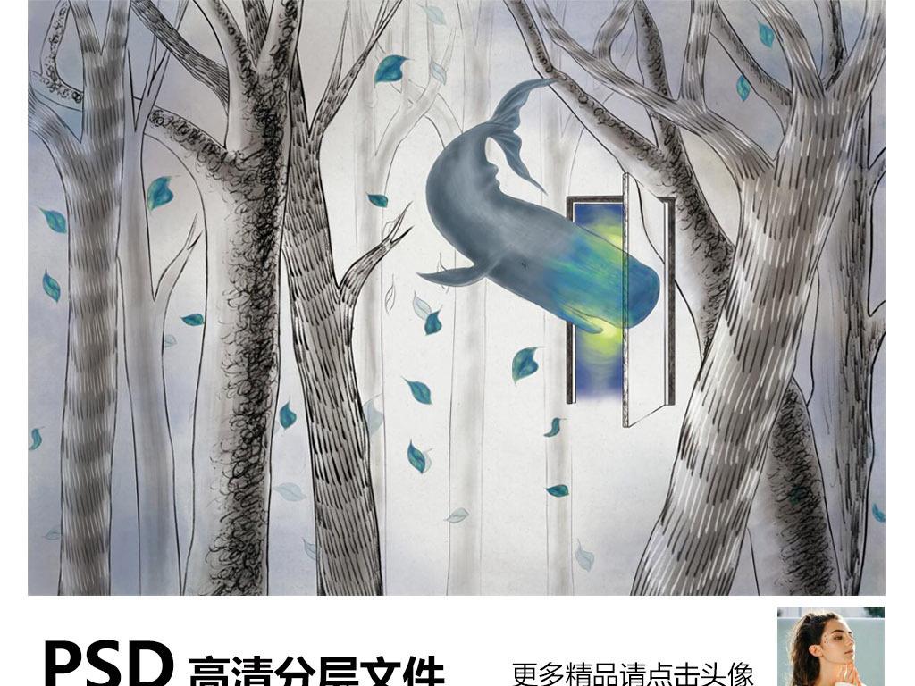 背景鲸鱼梦幻背景手绘卡通手绘鲸鱼手绘背景手绘墙手绘背景墙手绘花鸟