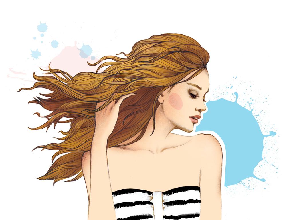 现代水彩美女长发女孩背景墙