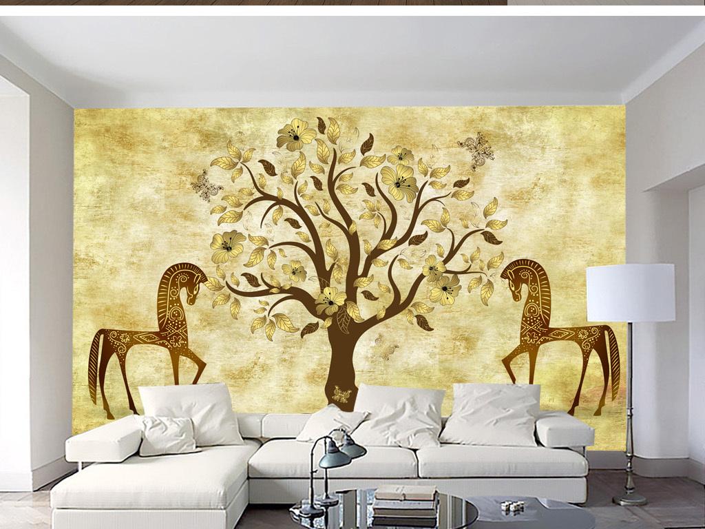 北欧素雅抽象手绘马树林背景墙装饰画