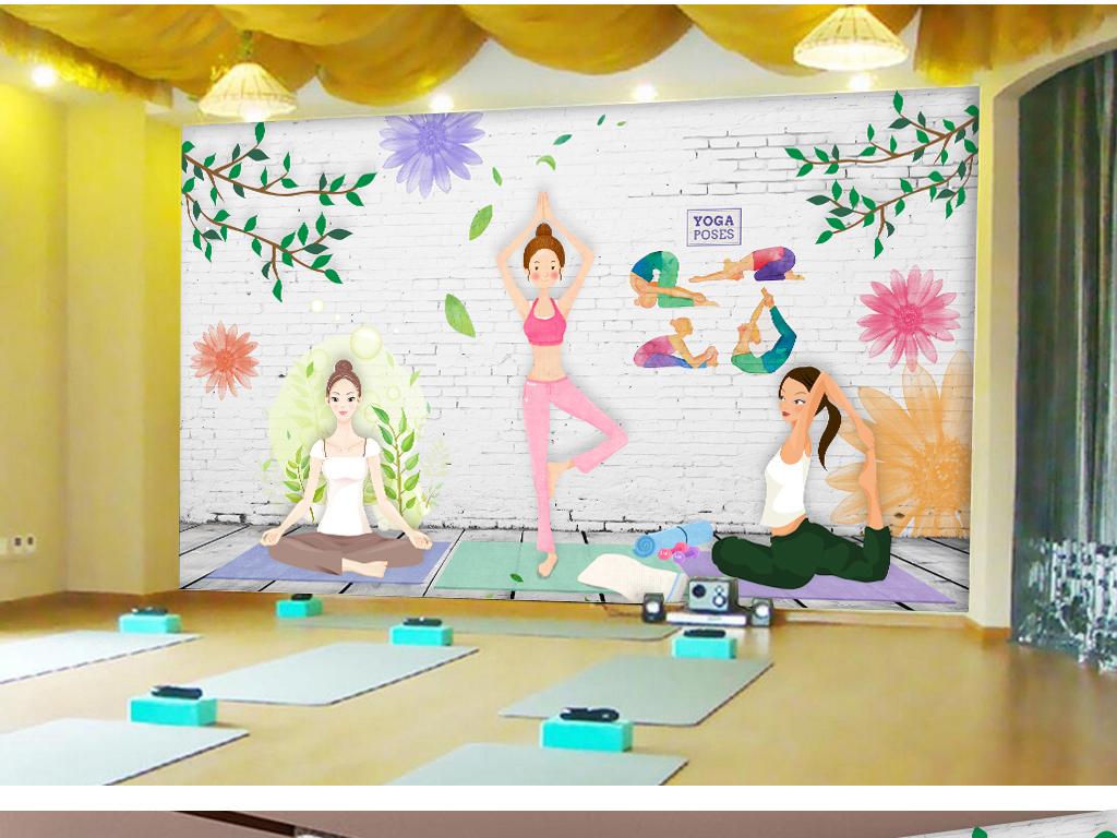 手绘风瑜伽健身会所工装背景墙