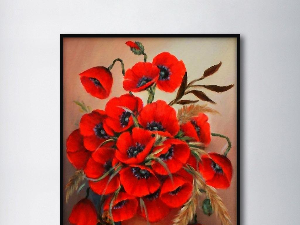 红色瓶中花罂粟花欧式手绘静物花卉装饰画