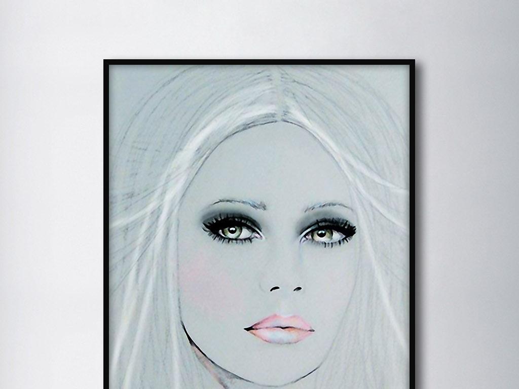 白发魔女欧式美女人物画像现代家居装饰画