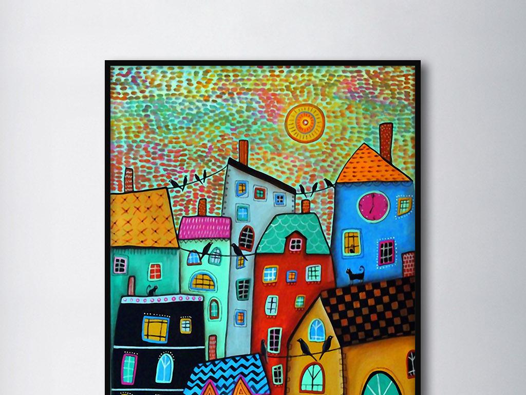 手绘田园装饰画欧式太阳花卡通太阳红太阳初升的太阳
