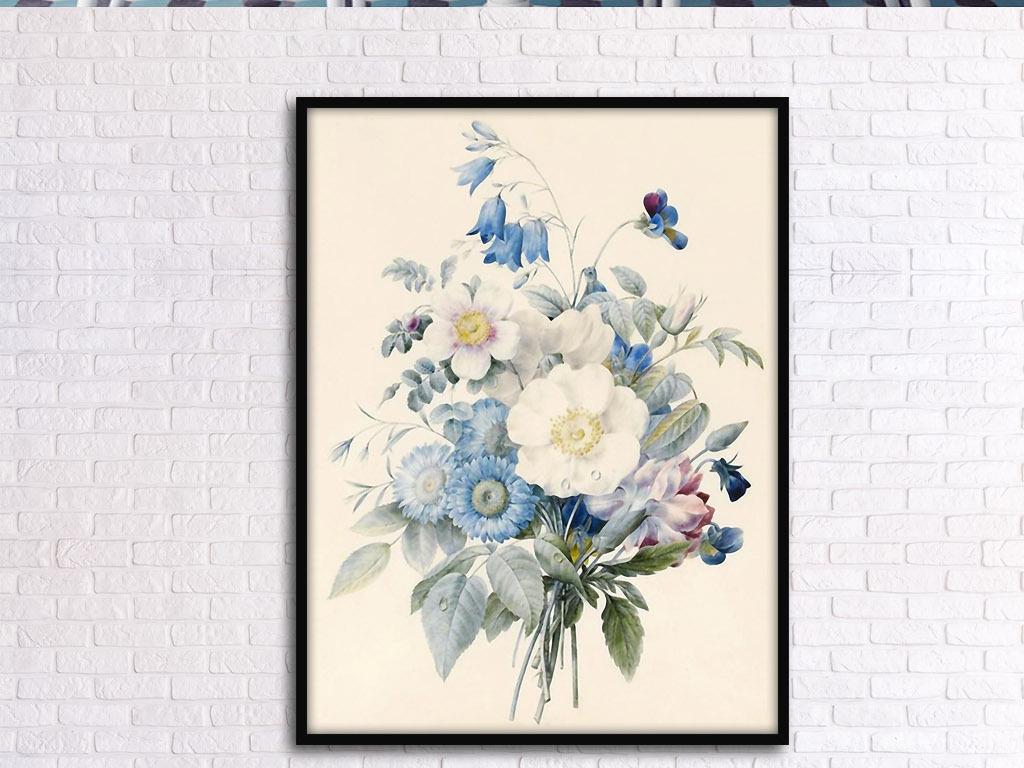 一扎花束欧式小清新手绘花卉复古室内装饰画