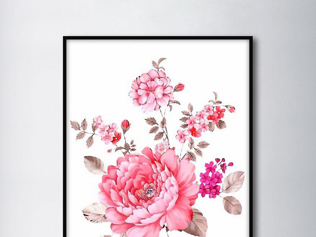 牡丹花欧式手绘花卉创意现代家居室内装饰画