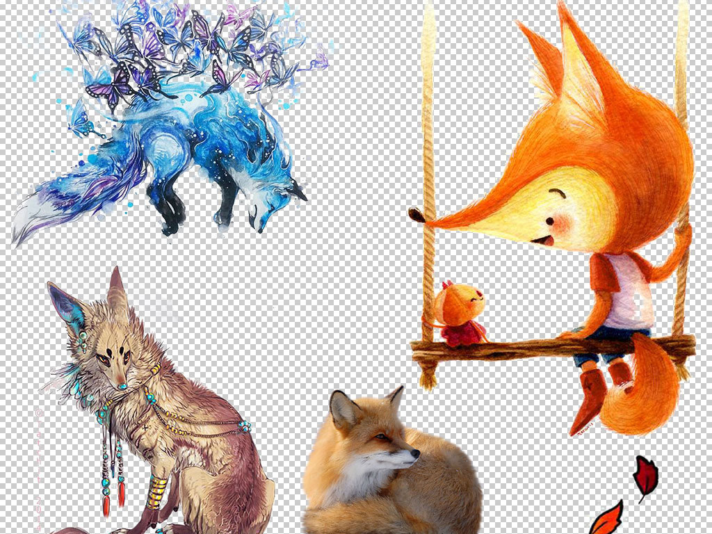 狐狸简笔画带颜色