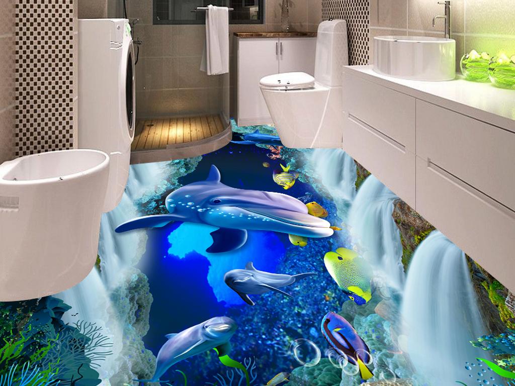 瀑布海底世界海豚3D浴室走道地板画地砖