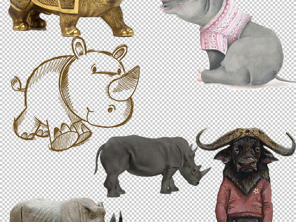 作品模板源文件可以编辑替换,设计作品简介: 卡通犀牛动物图片海报