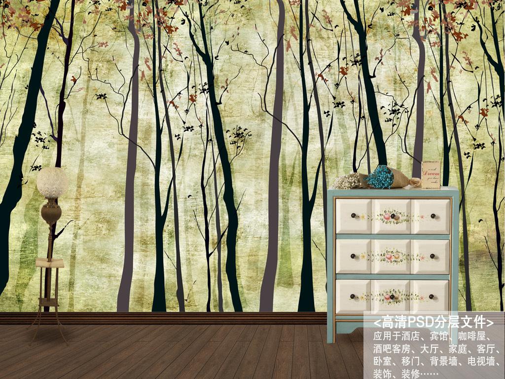 北欧素雅抽象手绘树林背景墙装饰画