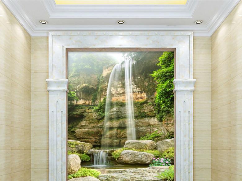 高山流水风景画瀑布3D玄关背景墙装饰画