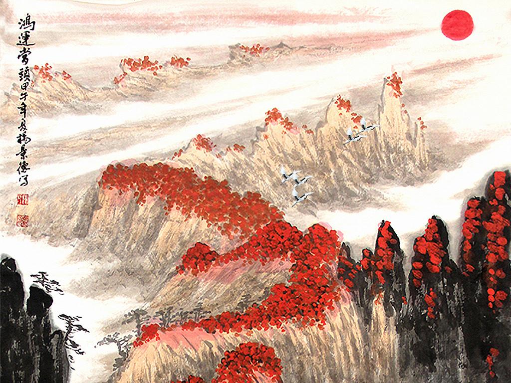 古典风玄关山水国画手绘路径图山水山水背景中式背景