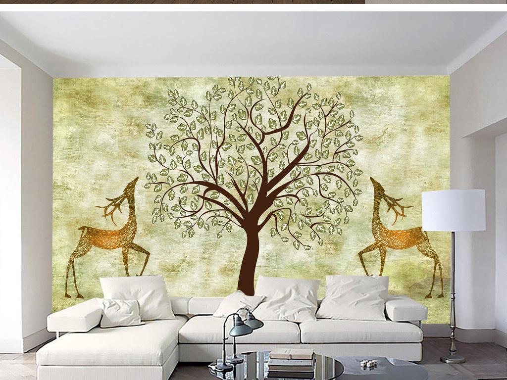北欧素雅抽象手绘树林驯鹿背景墙装饰画